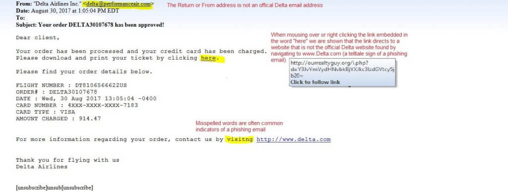 Delta Phishing Email