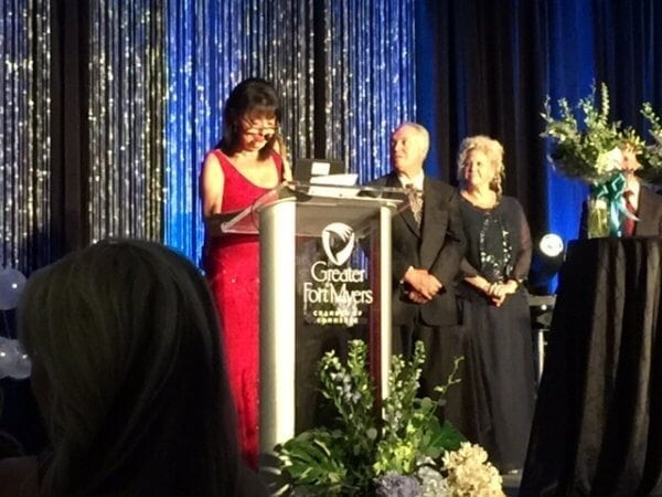 Apex Awards Barbara Dell speaking e